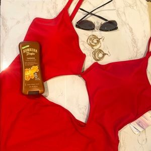 Red cut out plus size one piece swimsuit